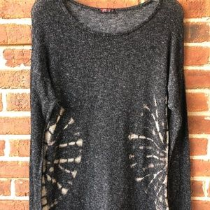 T PARTY Women's Shirt Top Black/Taupe Tie Dye
